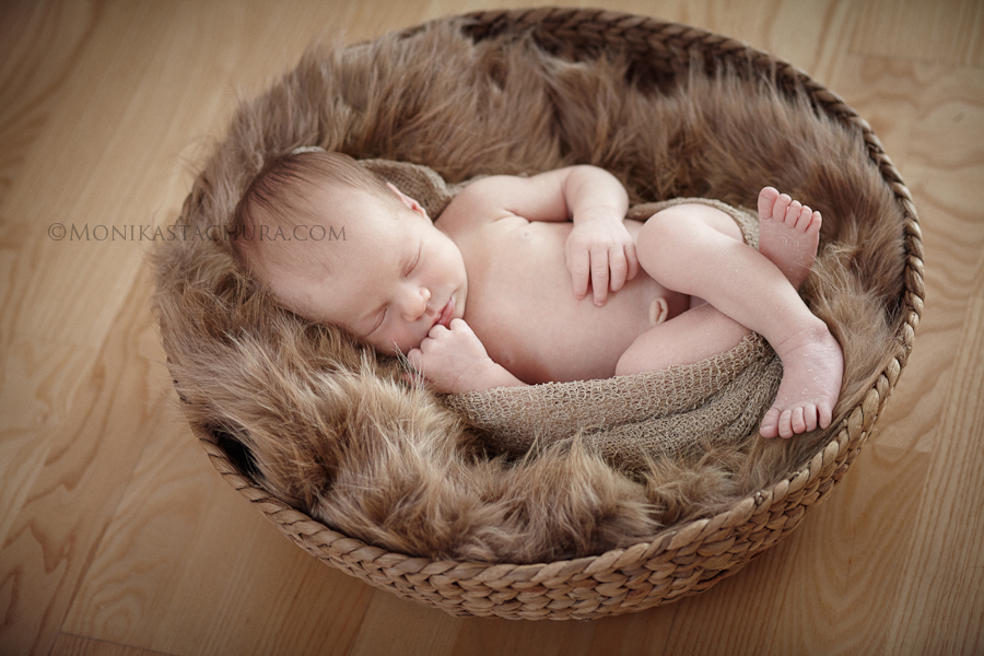 Newborn in brown basket/ Monika Stachura Photography